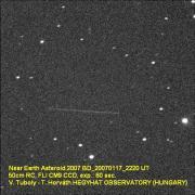 Near Earth Asteroid 2007 BD 2007. január 17. 50cm Ritchey-Chrétien, FLI CM9 CCD camera, exp.: 60 sec. Vince Tuboly HEGYHÁT OBSERVATORY Hungary