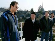 Magyar-szlovén-szlovák-osztrák szakmai tapasztalatcsere megbeszélés a Szlovák Központi Csillagvizsgálóban Hurbanovón, 2005. december 10-én. A cölosztátnál.